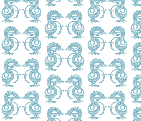 Dragons at Dawn - Soft Teal fabric by lottibrown on Spoonflower - custom fabric