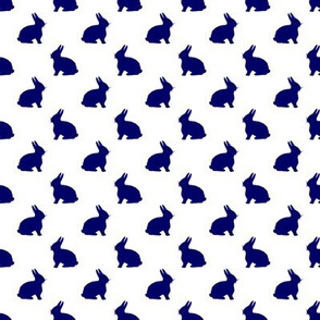 Fuzzy Bunny in Navy on White