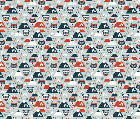 Retro ski fox and grizzly bear goggles winter woodland scandinavian mountain for kids fabric by littlesmilemakers on Spoonflower - custom fabric