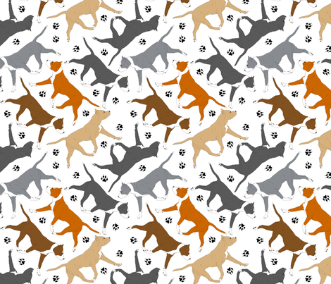 Trotting American Staffordshire Terriers - white fabric by rusticcorgi on Spoonflower - custom fabric