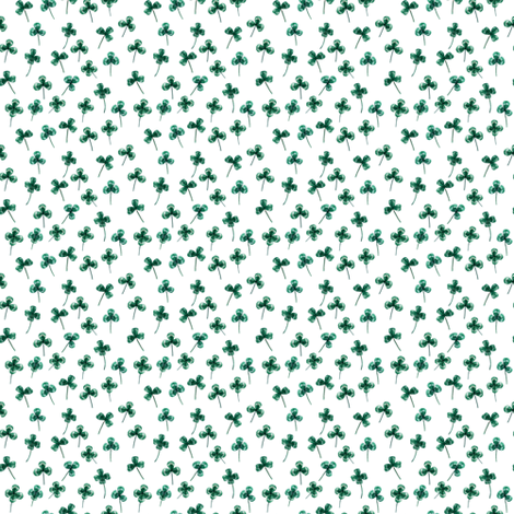 Shamrock Mini Green on White, Close Together fabric by thistleandfox on Spoonflower - custom fabric