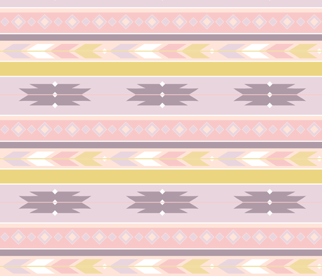 South West Pastel Pinks, Ochre Yellow Mauve fabric by thistleandfox on Spoonflower - custom fabric