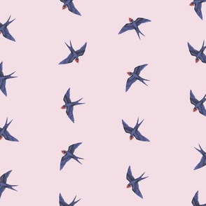 Swooping Swallows on Dusty Lilac Rose