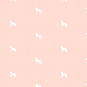 White Unicorn on Soft Blush Peach