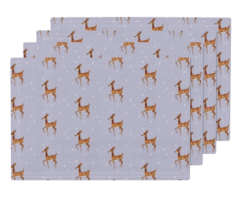 Prancing Christmas Deer on Silver Lilac