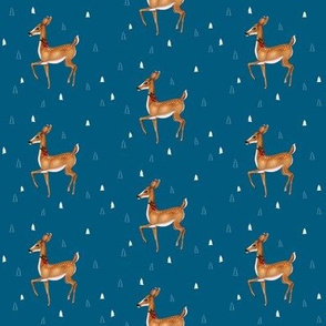 Prancing Christmas Deer on Festive Blue