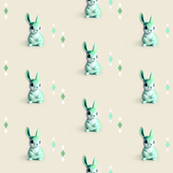 Retro Bunny in Mint & Ecru