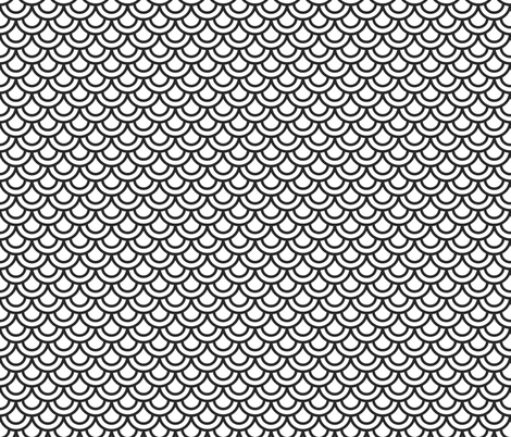 Double scales in white on black fabric by little_fish on Spoonflower - custom fabric
