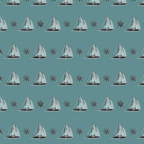Sailboats and Helms Turquoise