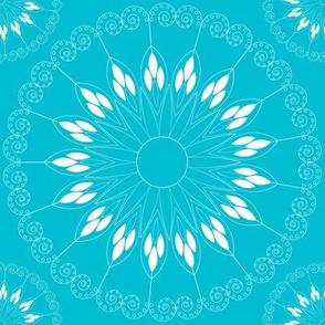 stylized light blue flower pattern