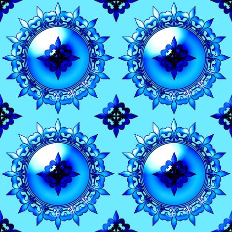 Allan's fleur de lis blue fabric by keweenawchris on Spoonflower - custom fabric