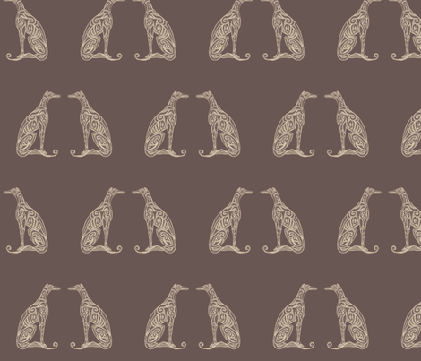 Greyhounds - Seeing Double - Chocolate & Cream fabric by lottibrown on Spoonflower - custom fabric