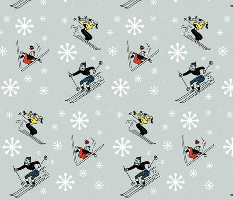 Retro-Skiing fabric by kfrogb on Spoonflower - custom fabric