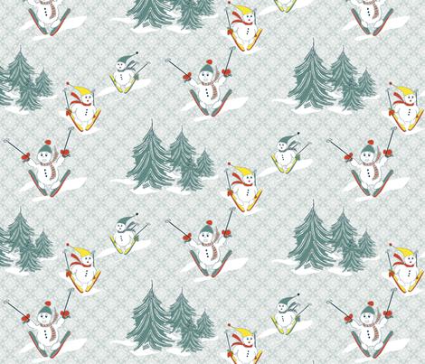 Skiing Snowmen  fabric by k-j on Spoonflower - custom fabric