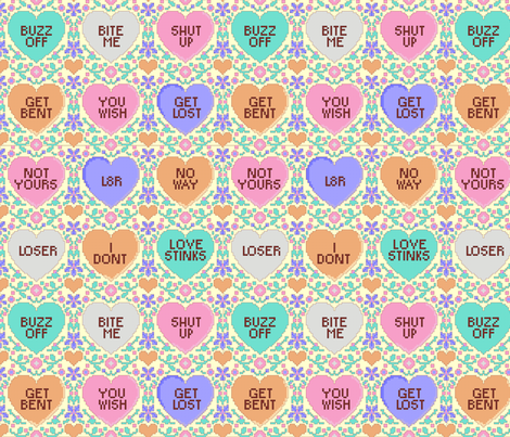 Anti valentines day cross stitch fabric by spacefem on Spoonflower - custom fabric