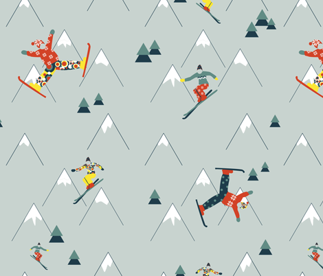 Retro Skiing fabric by lonnie_schrøder on Spoonflower - custom fabric