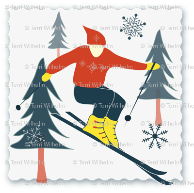 Retro Skier Postage Stamp