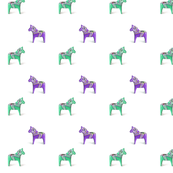 Dala Horse, Purple and Green