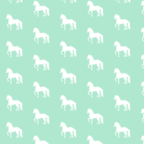 Fresian Horse Silhouette Mint, Smaller fabric by thistleandfox on Spoonflower - custom fabric