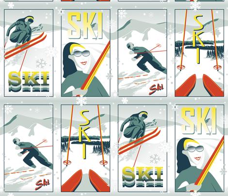 Skiing Fun fabric by medamade on Spoonflower - custom fabric