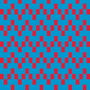 Angular Chevron - Blue/Watermelon