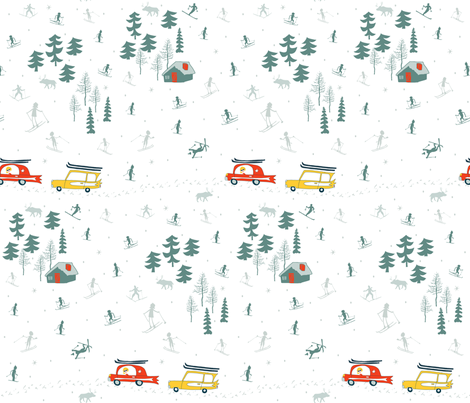 ski retro fabric by pattyryboltdesigns on Spoonflower - custom fabric
