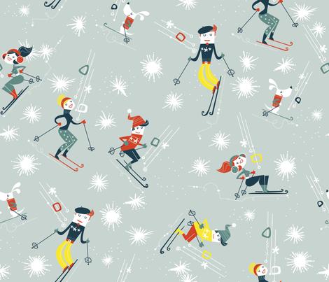 Oui We Retro Ski fabric by cynthiafrenette on Spoonflower - custom fabric
