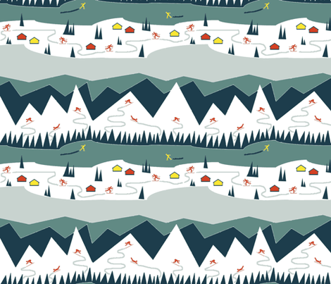 Swedish Retro Skiing  fabric by ms_majabird on Spoonflower - custom fabric