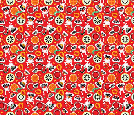 Maki monkey fruit pattern cool summer monkey print for for Kids pattern fabric