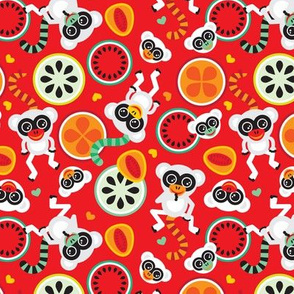 Maki monkey fruit pattern cool summer monkey print for kids