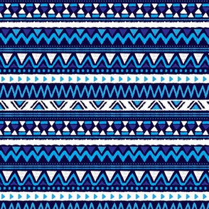 Aztec folklore indian pattern in winter eclectic blue