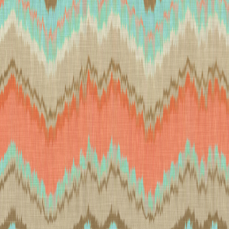 Ikat Chevron in Mint and Coral fabric by willowlanetextiles on Spoonflower - custom fabric