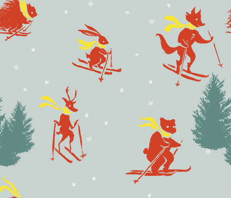 Retro Skiing Animals fabric by racheljones on Spoonflower - custom fabric