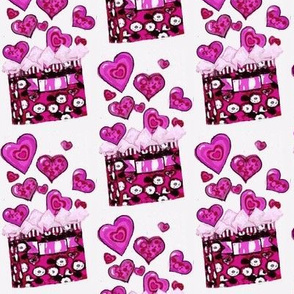 Purple gift bag of hearts