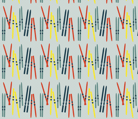 Retro Skiing fabric by creativeallure on Spoonflower - custom fabric