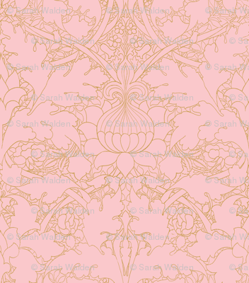 William Morris ~ Growing Damask ~ Dauphine and Gilt