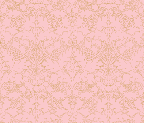 William Morris ~ Growing Damask ~ Dauphine and Gilt fabric by peacoquettedesigns on Spoonflower - custom fabric