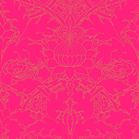 William Morris ~ Growing Damask ~ Courtesan and Gilt fabric by peacoquettedesigns on Spoonflower - custom fabric