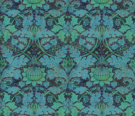 William Morris ~ Growing Damask ~ Night Garden fabric by peacoquettedesigns on Spoonflower - custom fabric