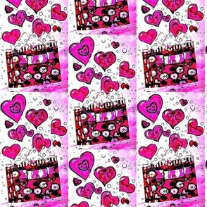 Pink bubble and hearts gift bag
