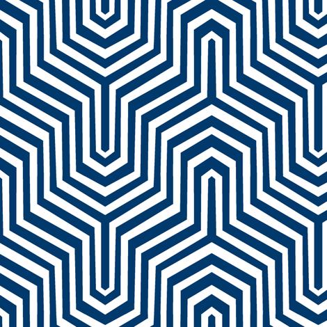 Garden Carpet Chevron II. Navy fabric by pond_ripple on Spoonflower - custom fabric