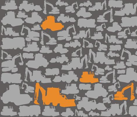 Boys toys orange grey grey fabric by pennyroyal on Spoonflower - custom fabric