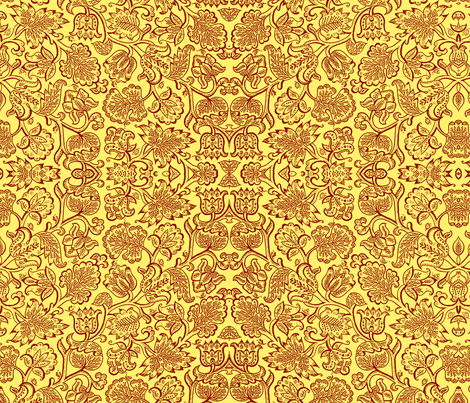 Jacobean red fabric by flyingfish on Spoonflower - custom fabric
