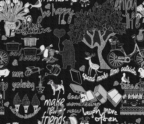NEW YEARS RESOLUTION 2014 fabric by mariskadesign on Spoonflower - custom fabric