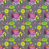 Seamless pattern cup of tea and lemons