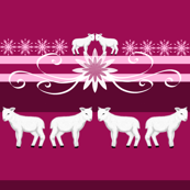 White lamb on a pink background