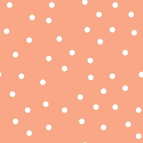 polka dot white on peach