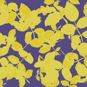Rose Leaves on Purple with Polka Dots