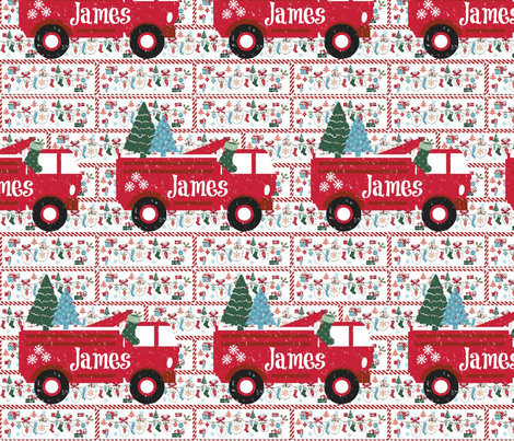 Mitten Party Fire Truck Large Personalized fabric by drapestudio on Spoonflower - custom fabric