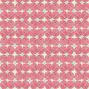 Pink Rose Argyle on Pale Blue